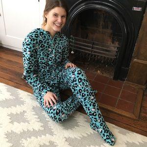 NEW Hello Kitty One Piece Footer Pajama Cheetah